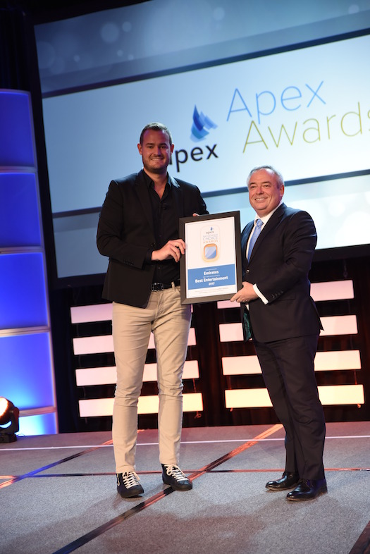 APEX 2017 Patrick Brannelly  receives the passenger choice award for best entertainment at the 2017 apex passenger choice awards